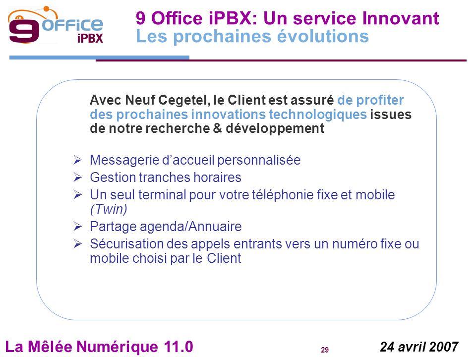 La Mêlée Numérique 11.0 29 24 avril 2007 Avec Neuf Cegetel, le Client est assuré de profiter des prochaines innovations technologiques issues de notre