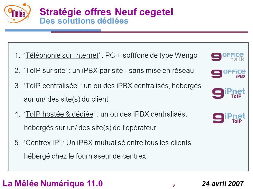 La Mêlée Numérique 11.0 6 24 avril 2007 Stratégie offres Neuf cegetel Des solutions dédiées 1.Téléphonie sur Internet : PC + softfone de type Wengo 2.