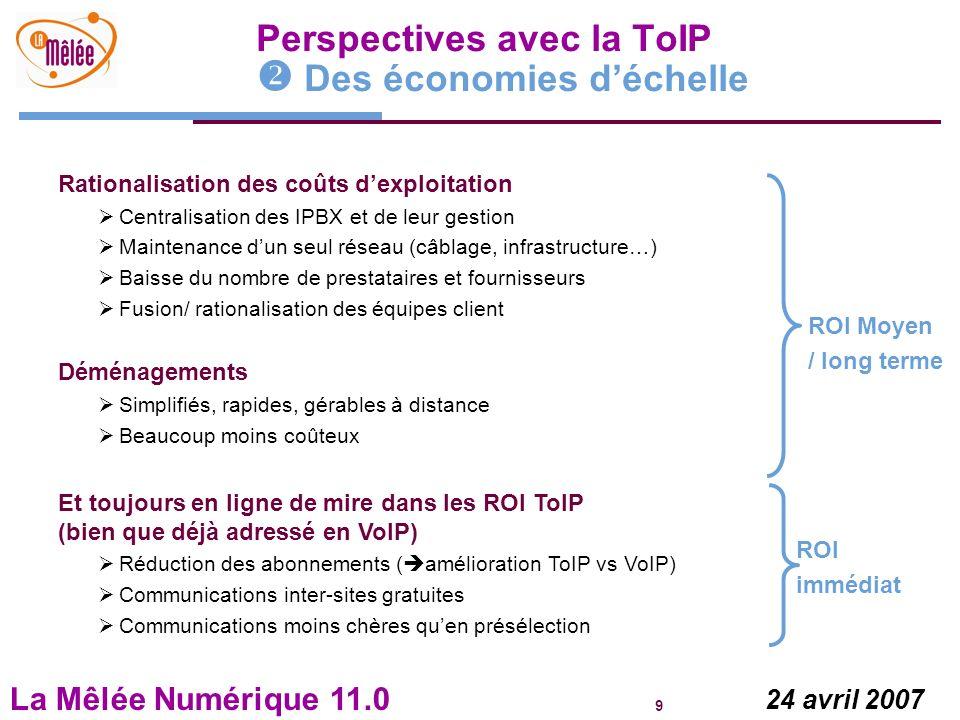 La Mêlée Numérique 11.0 9 24 avril 2007 Perspectives avec la ToIP Des économies déchelle Rationalisation des coûts dexploitation Centralisation des IP