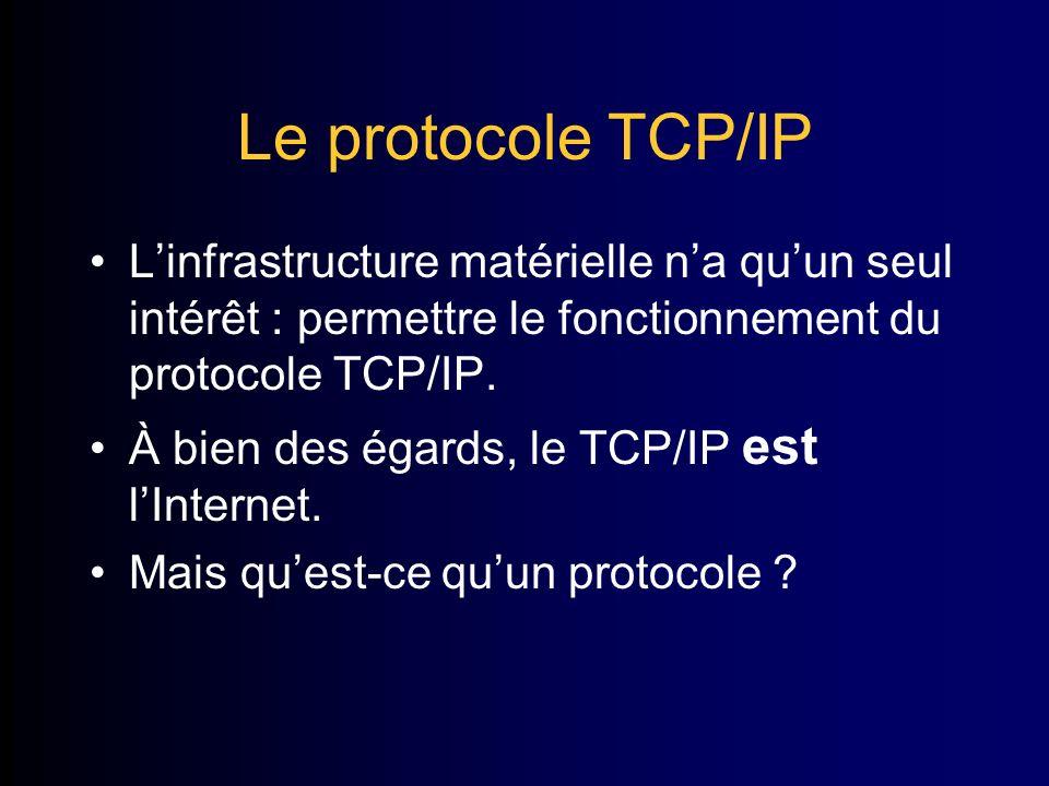 Le protocole TCP/IP Linfrastructure matérielle na quun seul intérêt : permettre le fonctionnement du protocole TCP/IP.