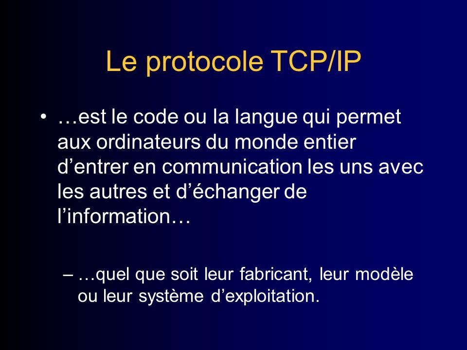 Le protocole TCP/IP …est le code ou la langue qui permet aux ordinateurs du monde entier dentrer en communication les uns avec les autres et déchanger de linformation… –…quel que soit leur fabricant, leur modèle ou leur système dexploitation.