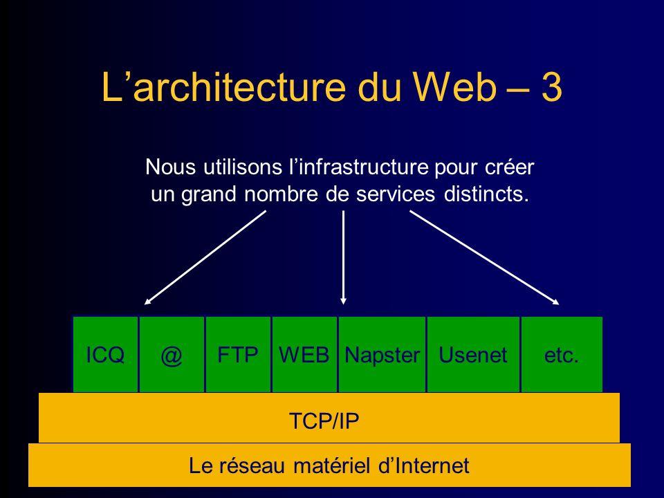 ICQ@FTPWEBNapsterUsenetetc. Larchitecture du Web – 3 Le réseau matériel dInternet Nous utilisons linfrastructure pour créer un grand nombre de service