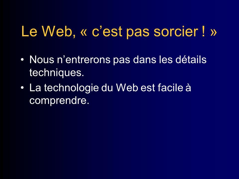 Le Web, « cest pas sorcier . » Nous nentrerons pas dans les détails techniques.