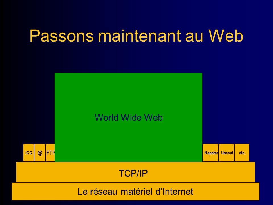 Passons maintenant au Web Le réseau matériel dInternet TCP/IP ICQ @FTP World Wide Web NapsterUsenet etc.