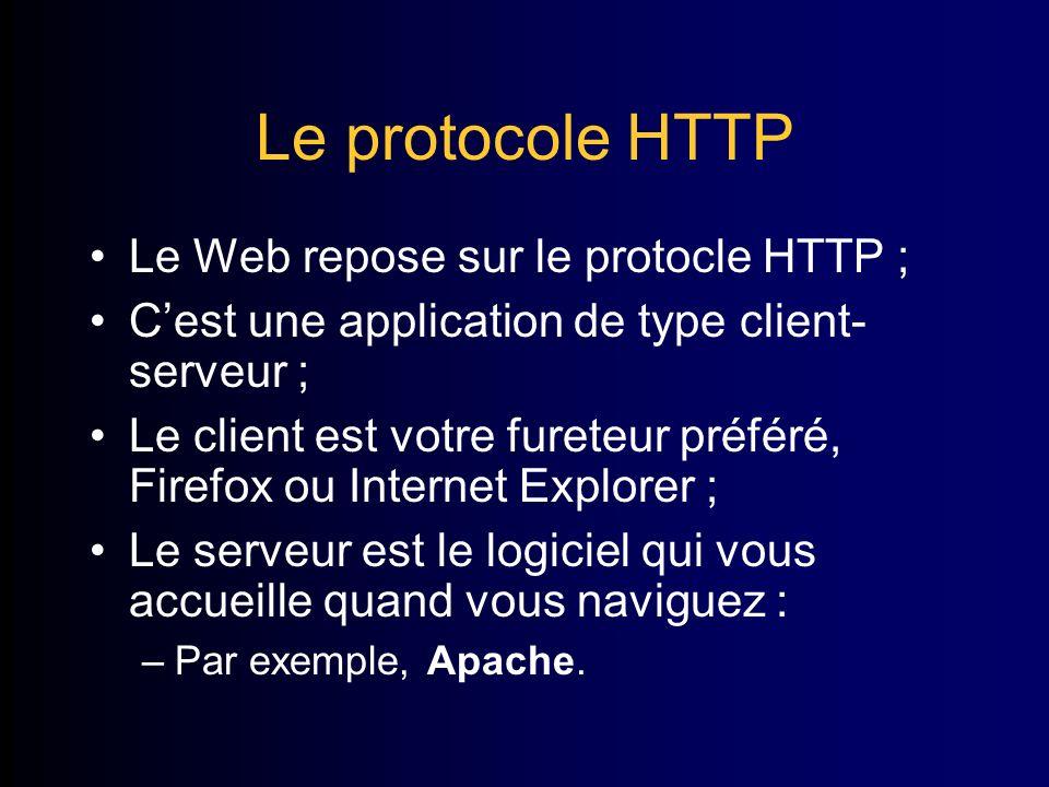 Le protocole HTTP Le Web repose sur le protocle HTTP ; Cest une application de type client- serveur ; Le client est votre fureteur préféré, Firefox ou Internet Explorer ; Le serveur est le logiciel qui vous accueille quand vous naviguez : –Par exemple, Apache.
