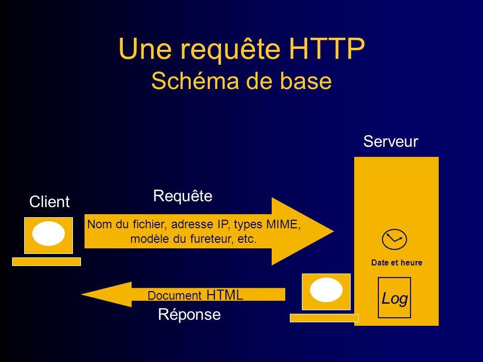 Une requête HTTP Schéma de base Nom du fichier, adresse IP, types MIME, modèle du fureteur, etc.