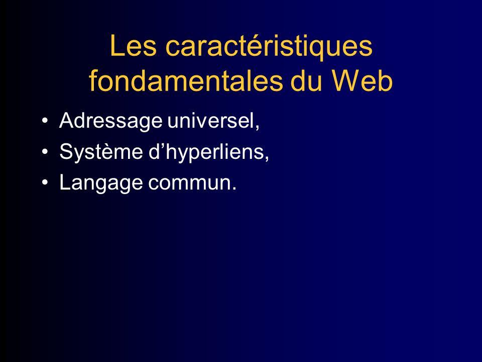 Les caractéristiques fondamentales du Web Adressage universel, Système dhyperliens, Langage commun.
