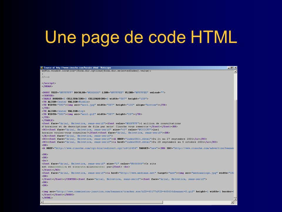 Une page de code HTML
