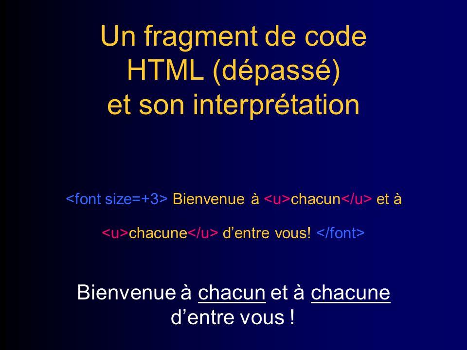 Un fragment de code HTML (dépassé) et son interprétation Bienvenue à chacun et à chacune dentre vous.