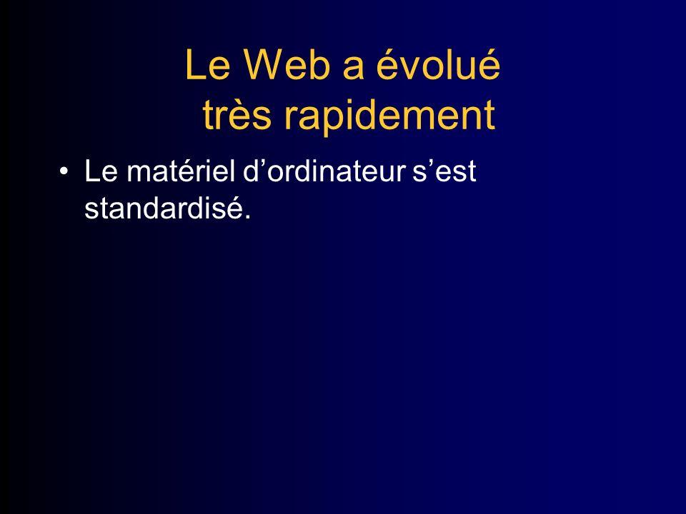 Le Web a évolué très rapidement Le matériel dordinateur sest standardisé.