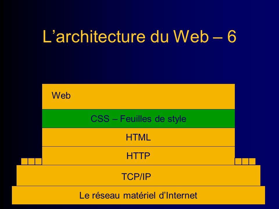 Larchitecture du Web – 6 Le réseau matériel dInternet TCP/IP HTTP Web HTML CSS – Feuilles de style