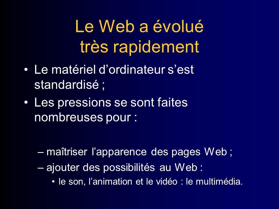 Le Web a évolué très rapidement Le matériel dordinateur sest standardisé ; Les pressions se sont faites nombreuses pour : –maîtriser lapparence des pages Web ; –ajouter des possibilités au Web : le son, lanimation et le vidéo : le multimédia.
