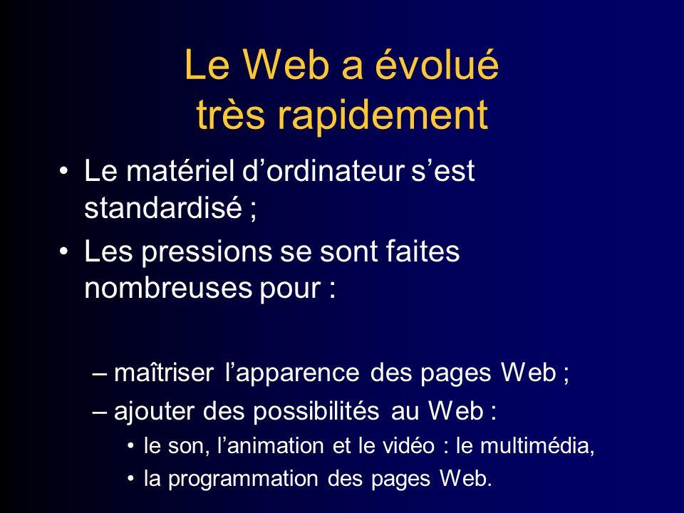 Le Web a évolué très rapidement Le matériel dordinateur sest standardisé ; Les pressions se sont faites nombreuses pour : –maîtriser lapparence des pages Web ; –ajouter des possibilités au Web : le son, lanimation et le vidéo : le multimédia, la programmation des pages Web.