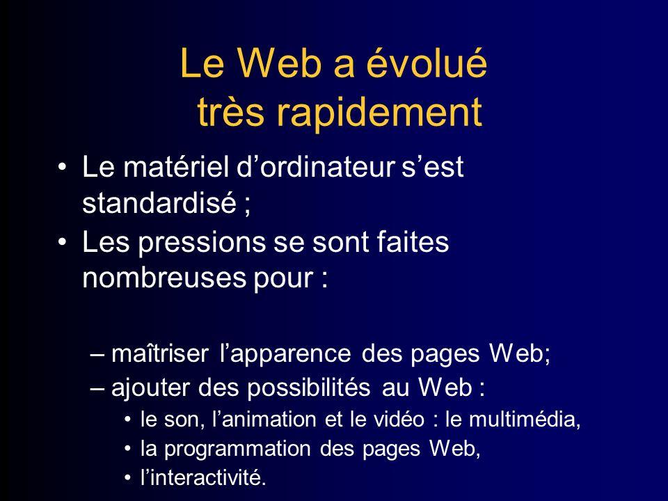 Le Web a évolué très rapidement Le matériel dordinateur sest standardisé ; Les pressions se sont faites nombreuses pour : –maîtriser lapparence des pages Web; –ajouter des possibilités au Web : le son, lanimation et le vidéo : le multimédia, la programmation des pages Web, linteractivité.