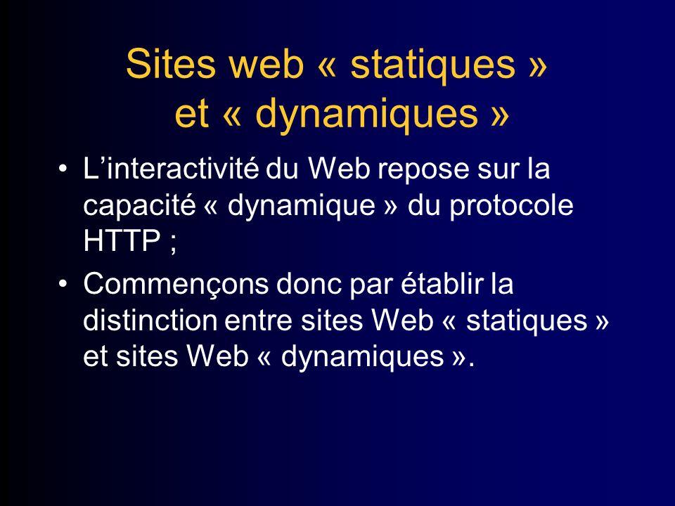 Sites web « statiques » et « dynamiques » Linteractivité du Web repose sur la capacité « dynamique » du protocole HTTP ; Commençons donc par établir la distinction entre sites Web « statiques » et sites Web « dynamiques ».