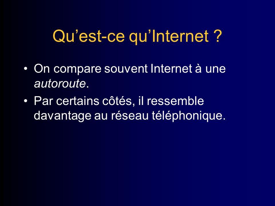 Quest-ce quInternet . On compare souvent Internet à une autoroute.