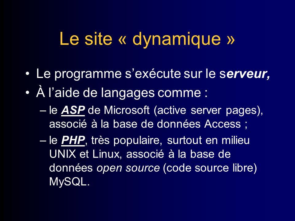 Le site « dynamique » Le programme sexécute sur le serveur, À laide de langages comme : –le ASP de Microsoft (active server pages), associé à la base de données Access ; –le PHP, très populaire, surtout en milieu UNIX et Linux, associé à la base de données open source (code source libre) MySQL.