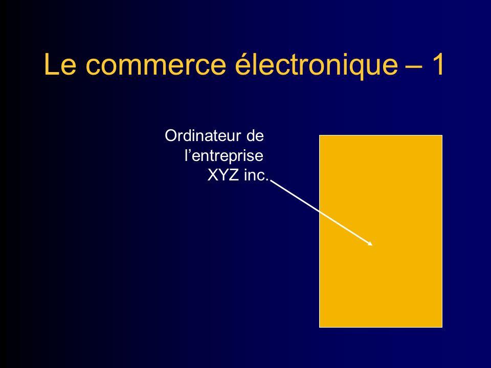 Le commerce électronique – 1 Ordinateur de lentreprise XYZ inc.