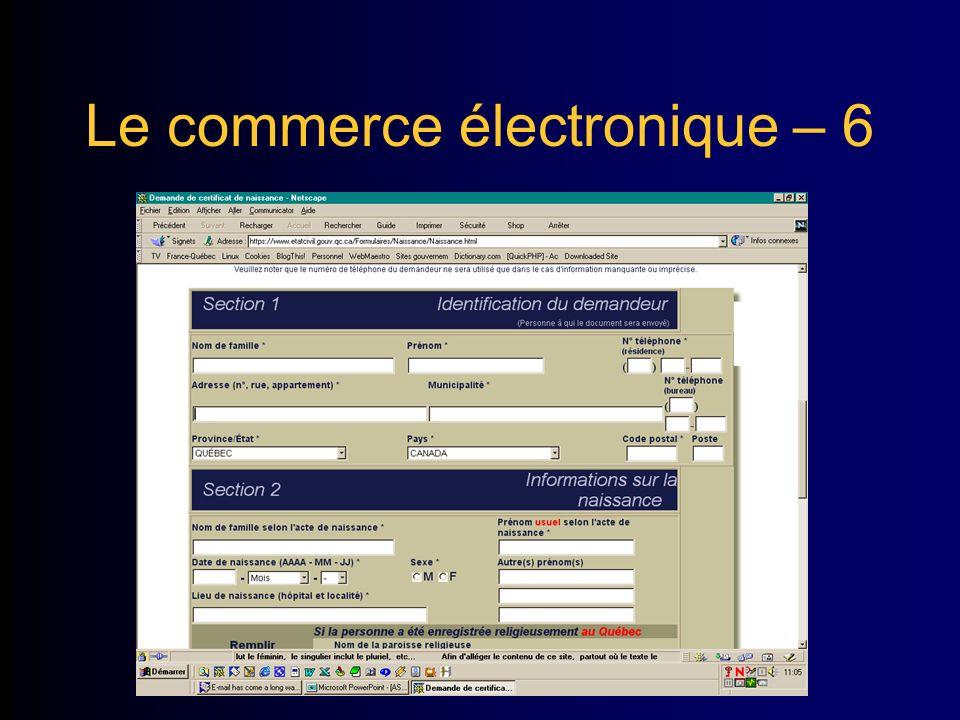 Le commerce électronique – 6