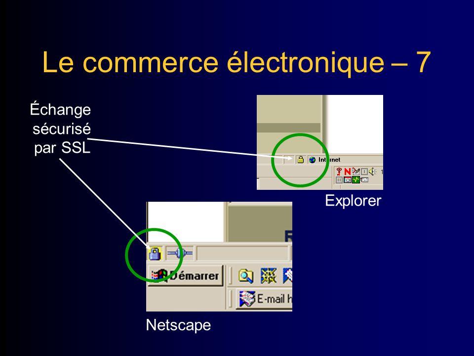 Le commerce électronique – 7 Échange sécurisé par SSL Explorer Netscape