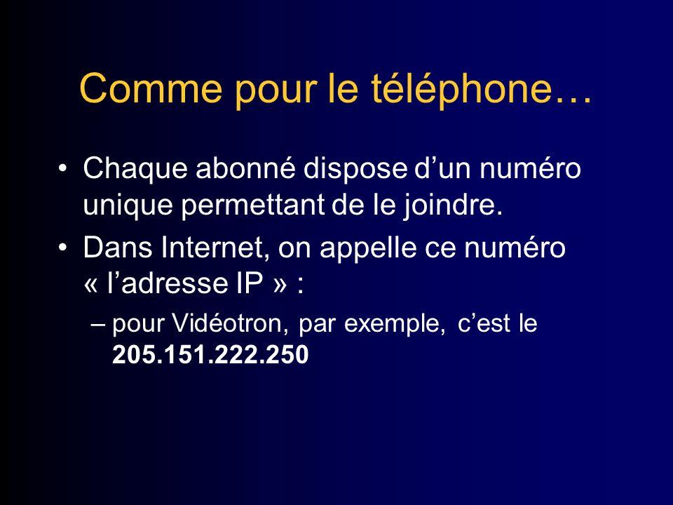 Comme pour le téléphone… Chaque abonné dispose dun numéro unique permettant de le joindre.