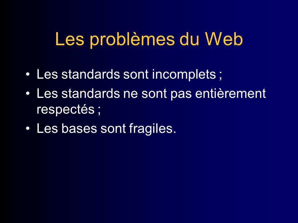 Les problèmes du Web Les standards sont incomplets ; Les standards ne sont pas entièrement respectés ; Les bases sont fragiles.