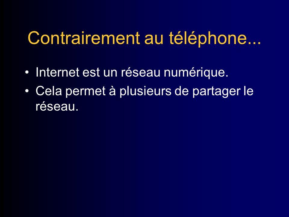 Contrairement au téléphone... Internet est un réseau numérique.