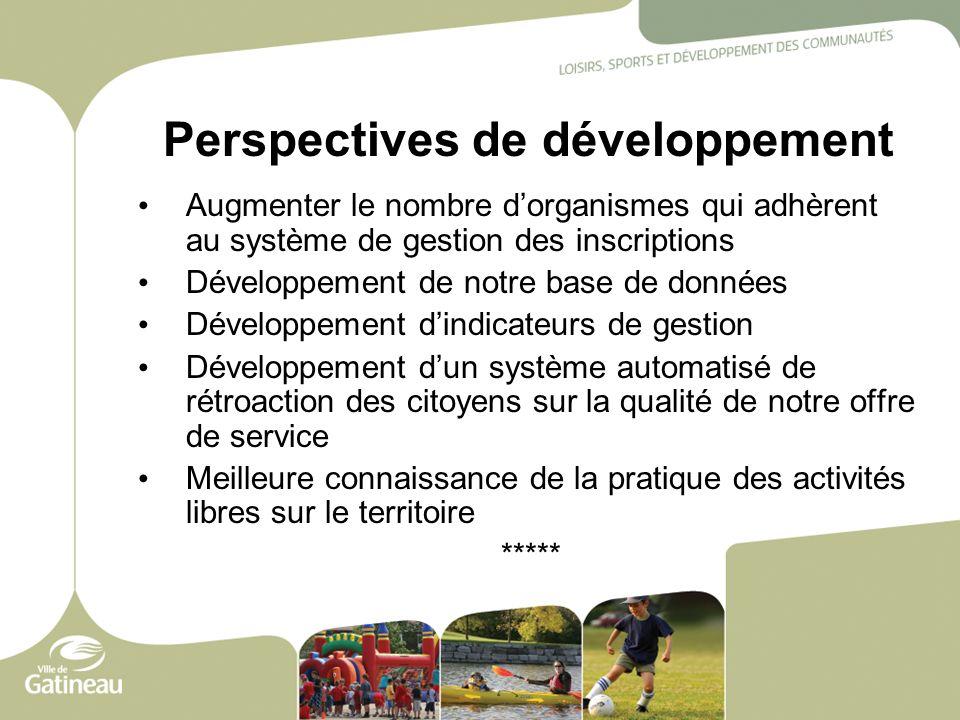 Perspectives de développement Augmenter le nombre dorganismes qui adhèrent au système de gestion des inscriptions Développement de notre base de donné