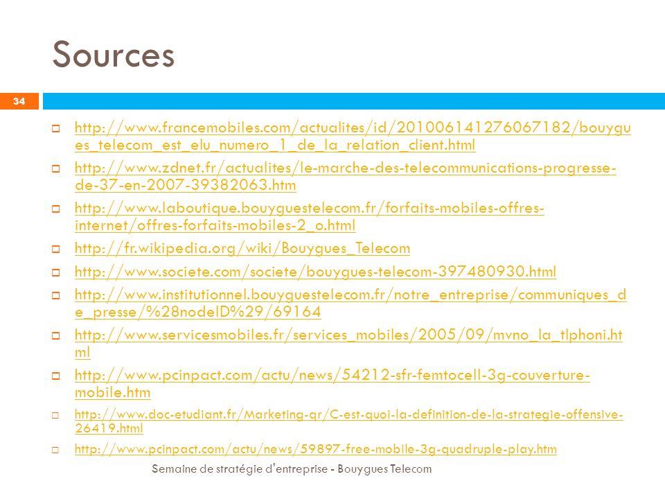 Sources 34 http://www.francemobiles.com/actualites/id/201006141276067182/bouygu es_telecom_est_elu_numero_1_de_la_relation_client.html http://www.fran