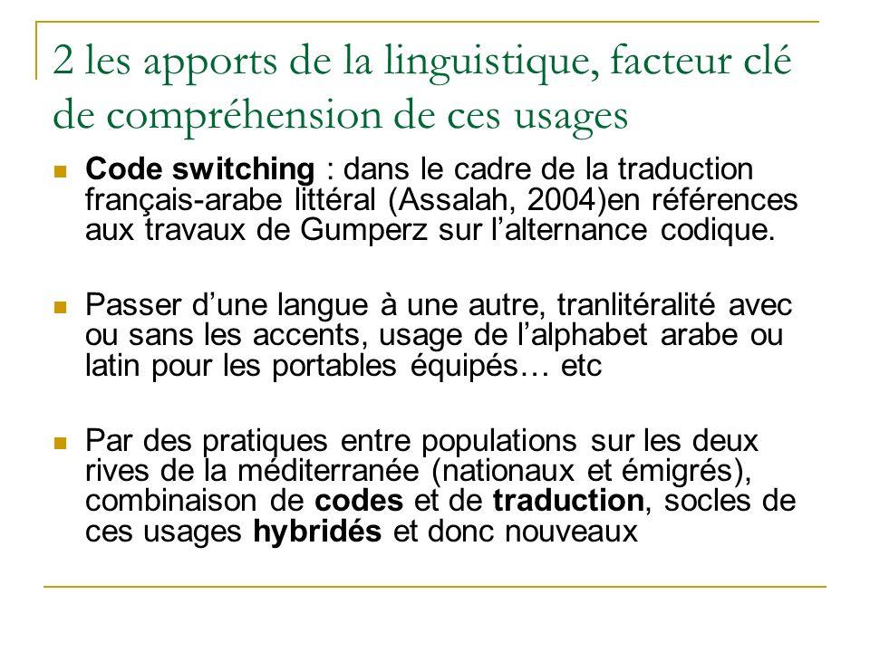 2 les apports de la linguistique, facteur clé de compréhension de ces usages Code switching : dans le cadre de la traduction français-arabe littéral (