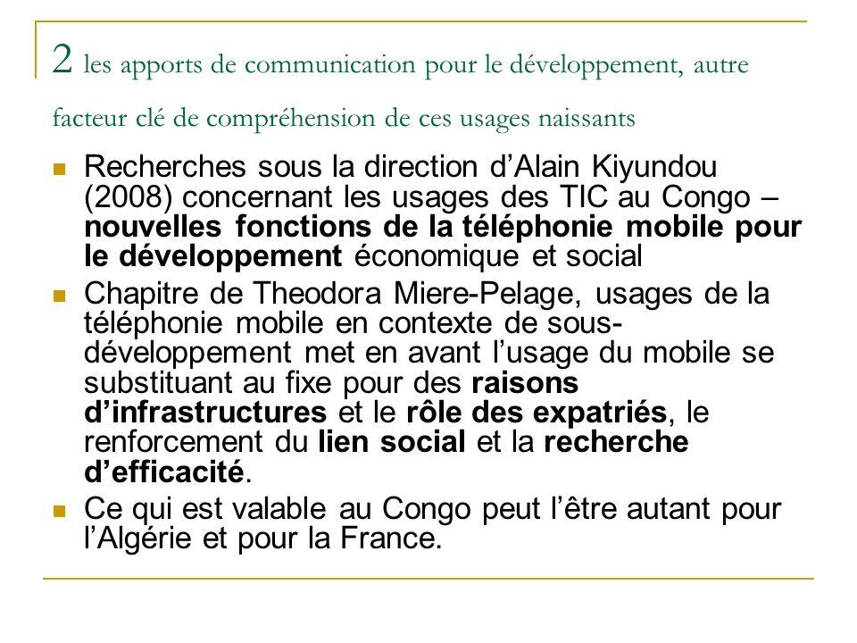 2 les apports de communication pour le développement, autre facteur clé de compréhension de ces usages naissants Recherches sous la direction dAlain K
