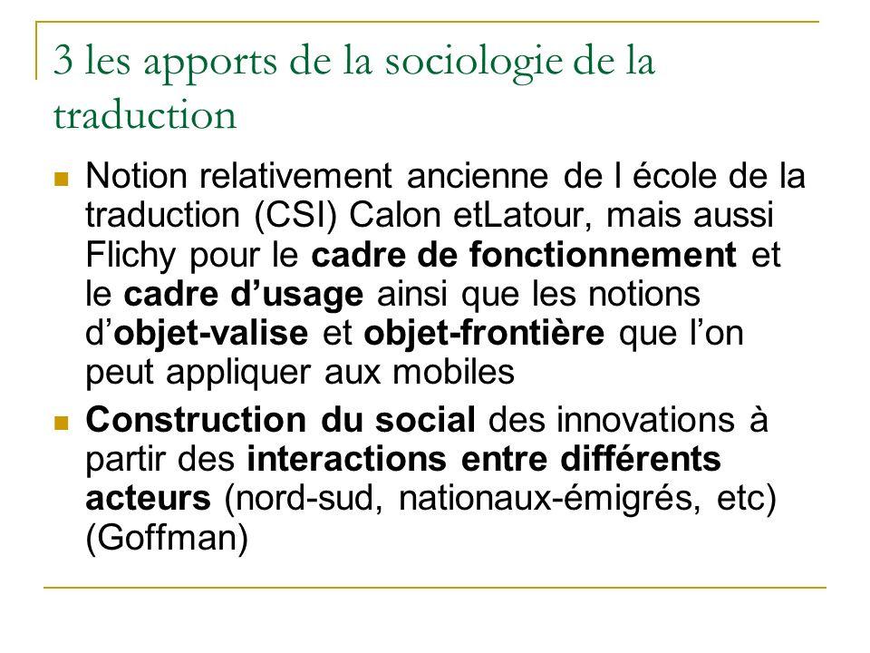 3 les apports de la sociologie de la traduction Notion relativement ancienne de l école de la traduction (CSI) Calon etLatour, mais aussi Flichy pour