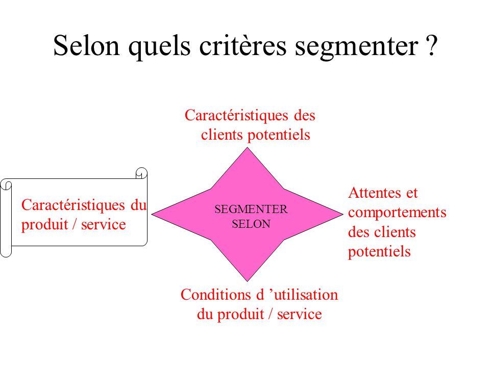 EXEMPLES DE SEGMENTATION SELON LES CONDITIONS D UTILISATION Hôtellerie Transport aérien Electricité Appareils photos Segment Affaires Segment Tourisme