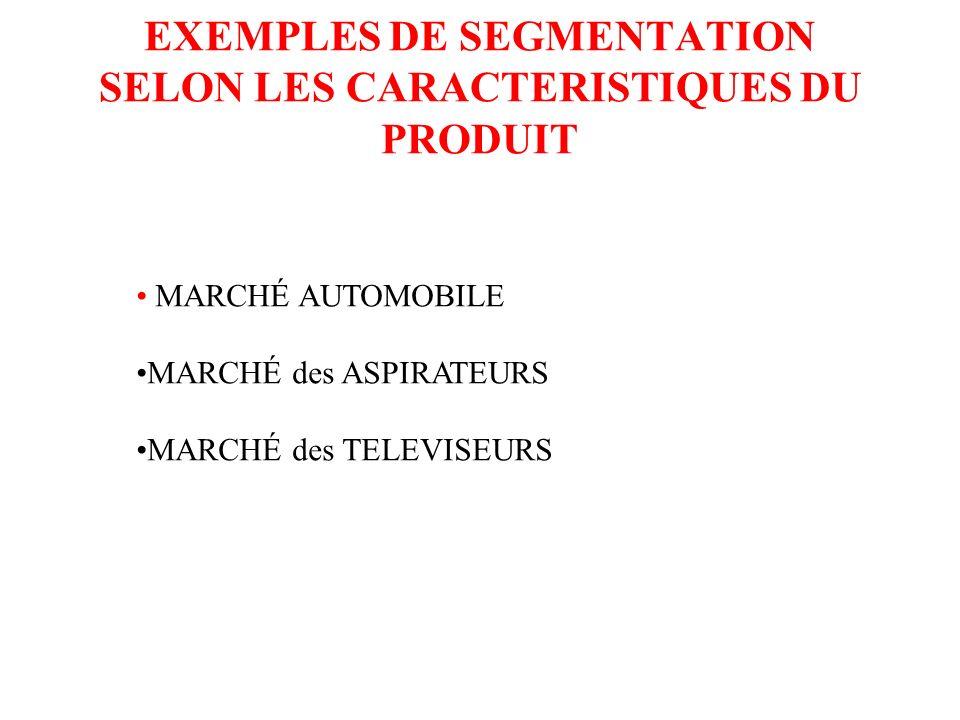 La segmentation selon les caractéristiques du produit Encore souvent utilisée, c est une vision beaucoup moins marketing car elle part du produit pour