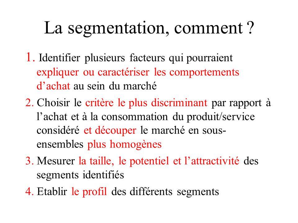 La segmentation: définitions n Marché : groupe de prospects (clients potentiels) n Segment : groupe de prospects potentiellement plus homogènes par ra