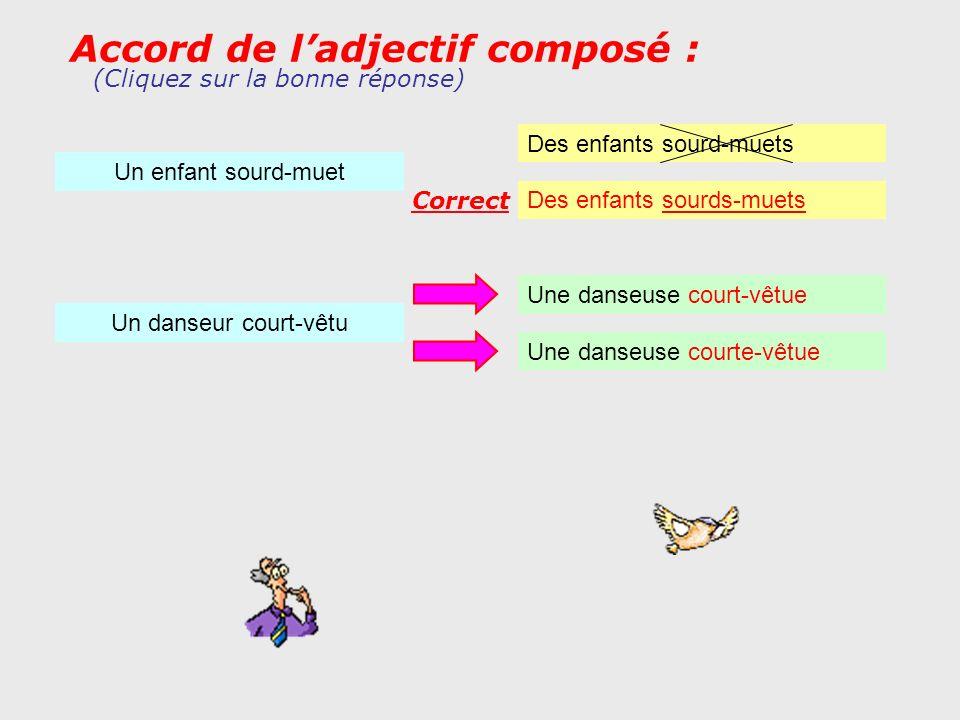 Accord de ladjectif composé : Un enfant sourd-muet (Cliquez sur la bonne réponse) Des enfants sourds-muets Des enfants sourd-muets