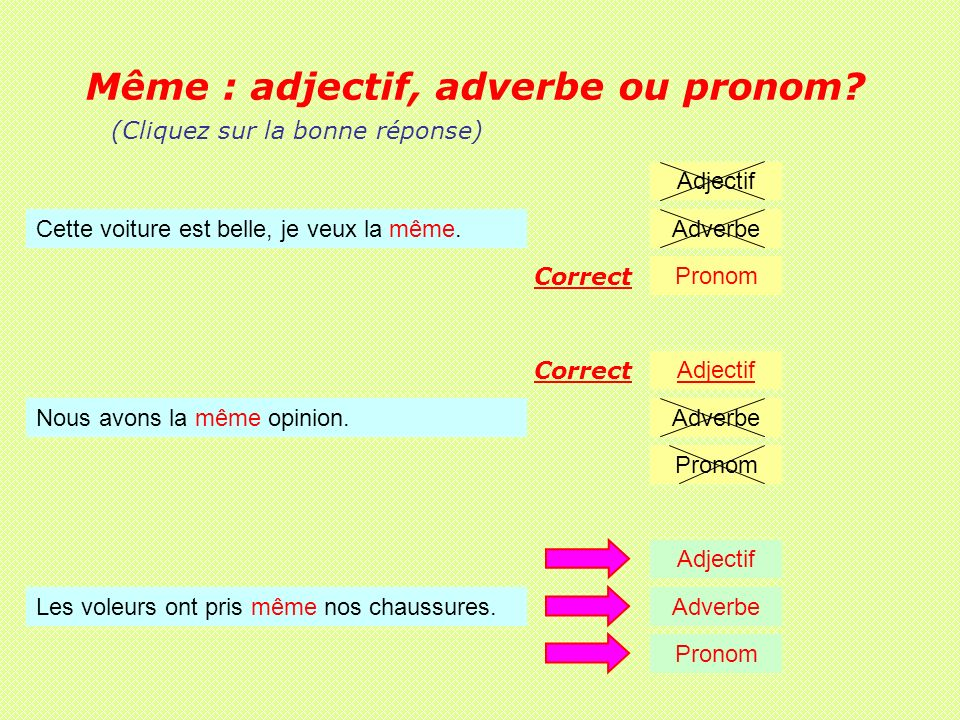 Même : adjectif, adverbe ou pronom. Nous avons la même opinion.