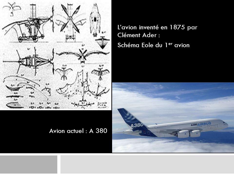 Lavion inventé en 1875 par Clément Ader : Schéma Eole du 1 er avion Avion actuel : A 380