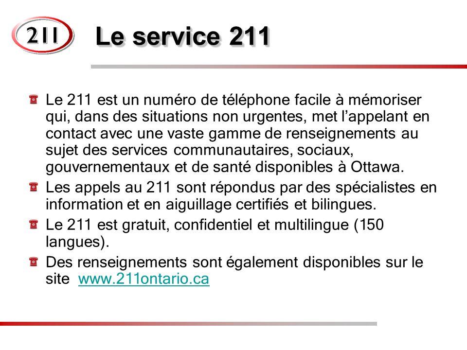 Le service 211 Le 211 est un numéro de téléphone facile à mémoriser qui, dans des situations non urgentes, met lappelant en contact avec une vaste gamme de renseignements au sujet des services communautaires, sociaux, gouvernementaux et de santé disponibles à Ottawa.