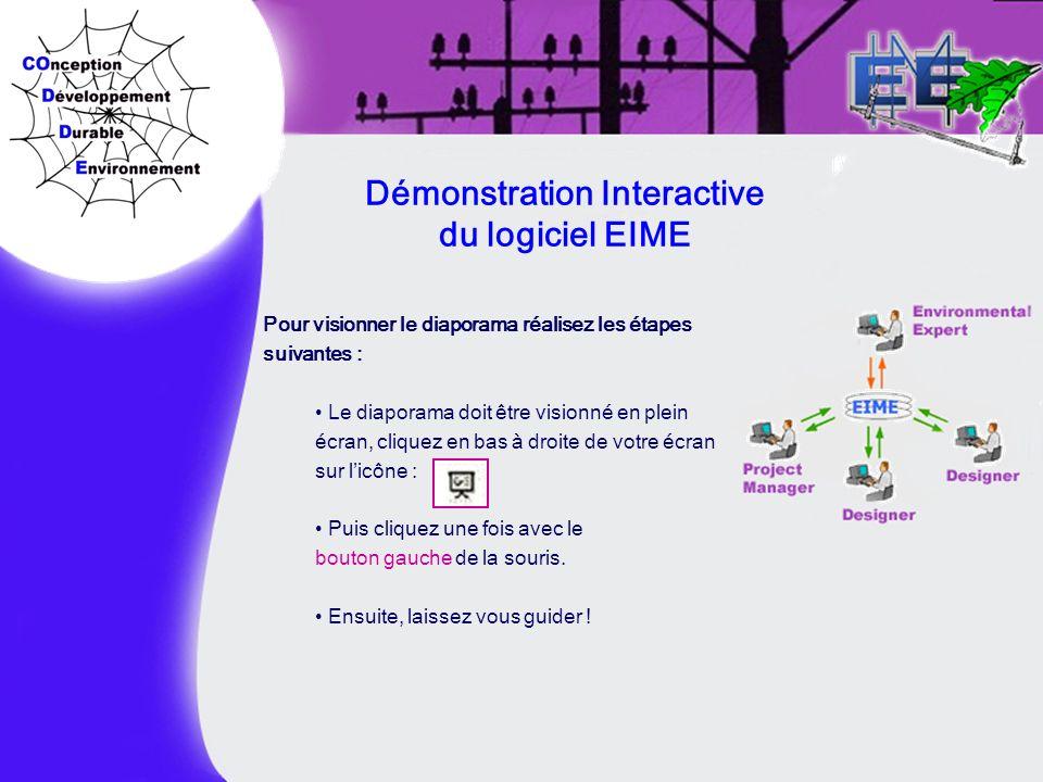 Démonstration Interactive du logiciel EIME Pour visionner le diaporama réalisez les étapes suivantes : Le diaporama doit être visionné en plein écran,