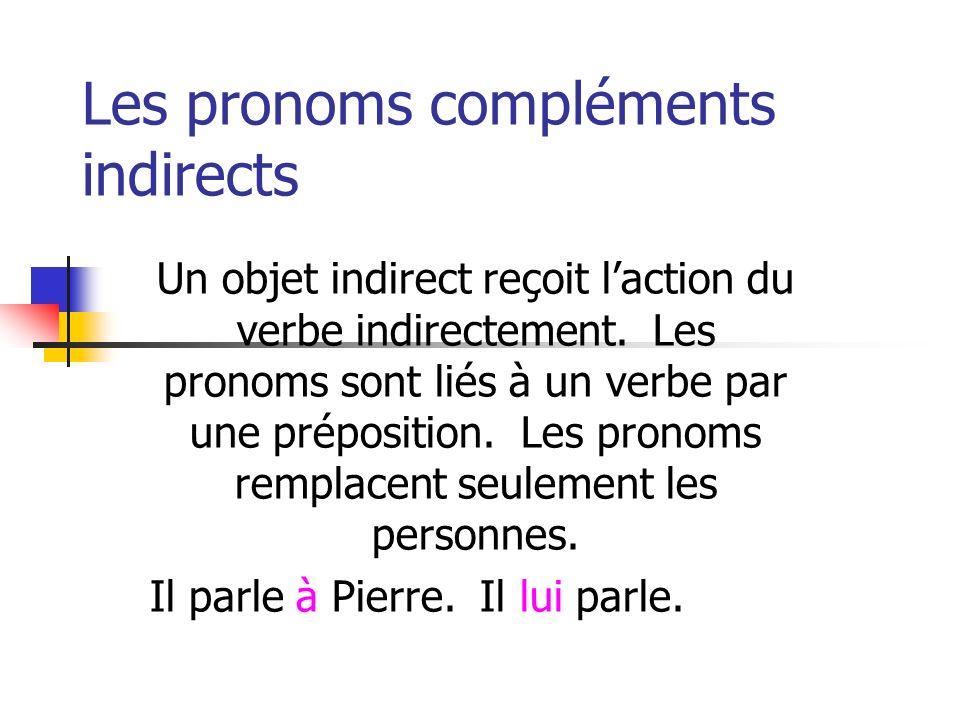 Les pronoms compléments indirects Un objet indirect reçoit laction du verbe indirectement. Les pronoms sont liés à un verbe par une préposition. Les p