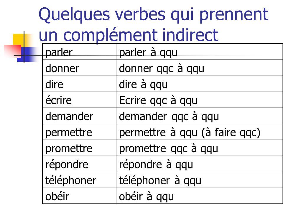 Quelques verbes qui prennent un complément indirect parlerparler à qqu donnerdonner qqc à qqu diredire à qqu écrireEcrire qqc à qqu demanderdemander q