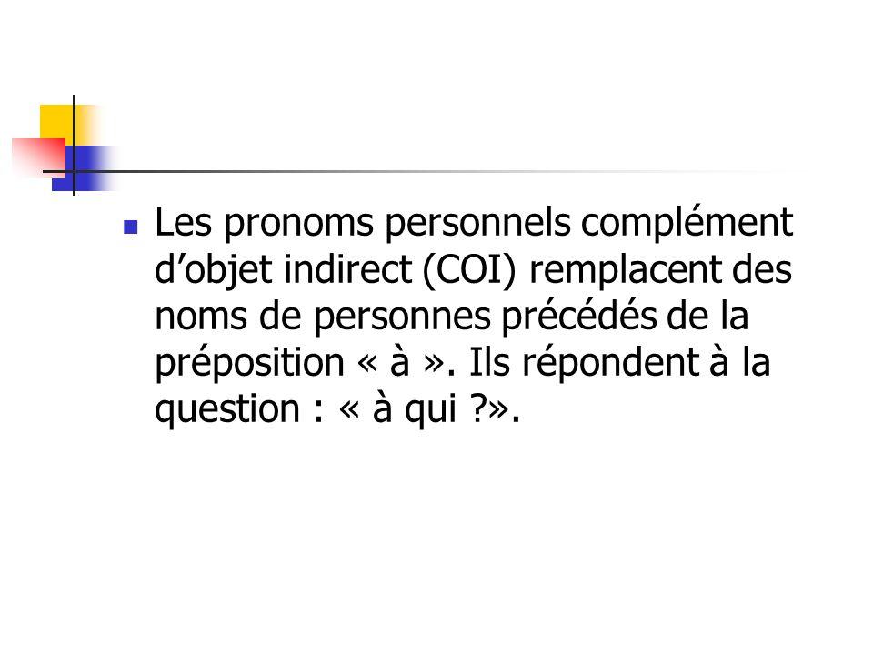 Les pronoms personnels complément dobjet indirect (COI) remplacent des noms de personnes précédés de la préposition « à ». Ils répondent à la question