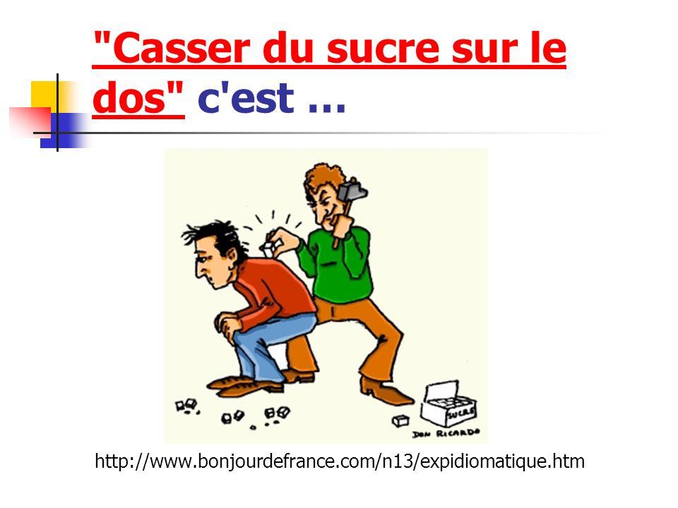 Casser du sucre sur le dos Casser du sucre sur le dos c est … http://www.bonjourdefrance.com/n13/expidiomatique.htm