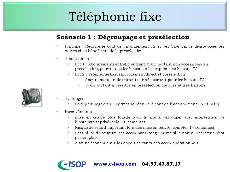 www.c-isop.com 04.37.47.87.17 Téléphonie fixe Scénario 1 : Dégroupage et présélection Principe : Réduire le coût de labonnement T2 et des SDA par le d