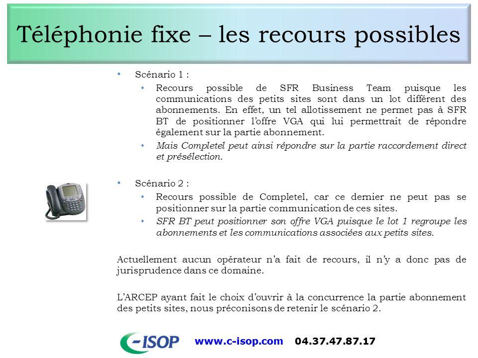www.c-isop.com 04.37.47.87.17 Téléphonie fixe – les recours possibles Scénario 1 : Recours possible de SFR Business Team puisque les communications de