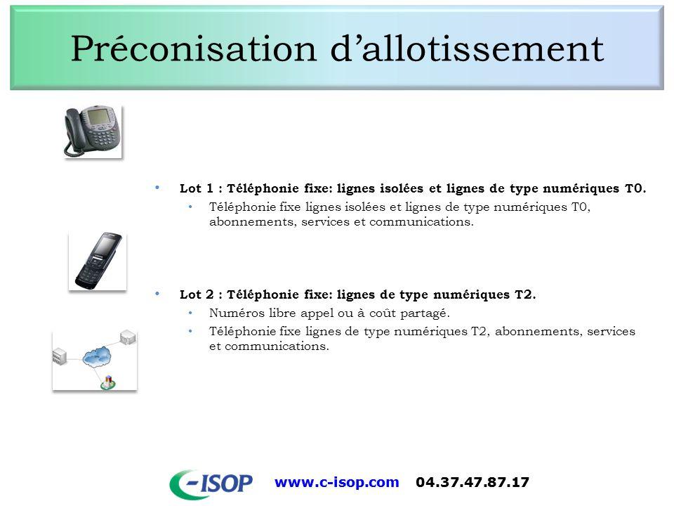 www.c-isop.com 04.37.47.87.17 Préconisation dallotissement Lot 1 : Téléphonie fixe: lignes isolées et lignes de type numériques T0. Téléphonie fixe li