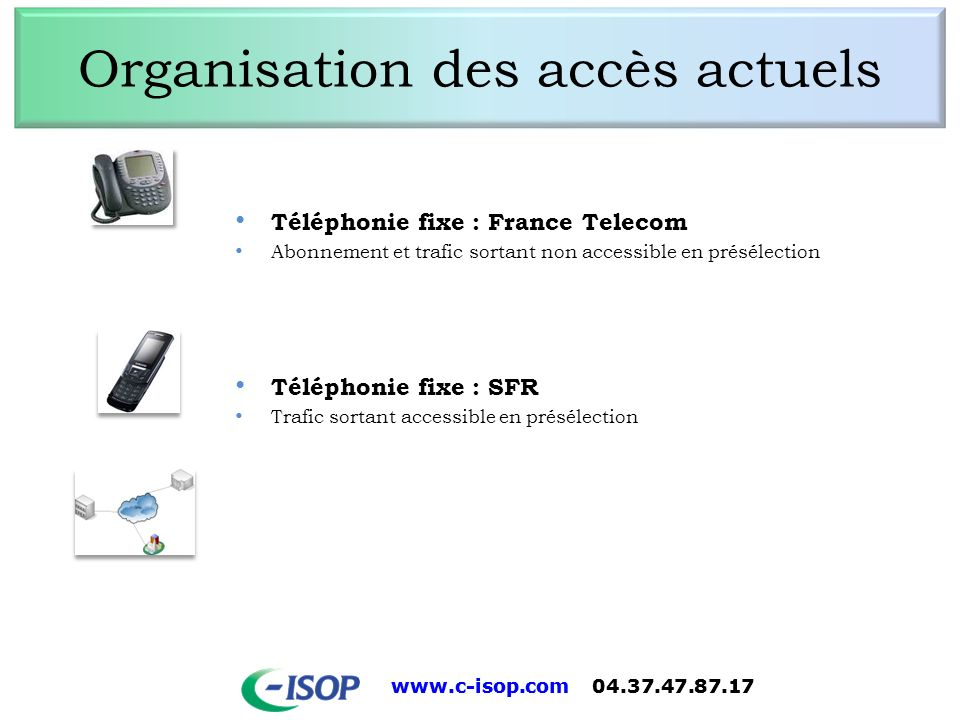 www.c-isop.com 04.37.47.87.17 Organisation des accès actuels Téléphonie fixe : France Telecom Abonnement et trafic sortant non accessible en présélect