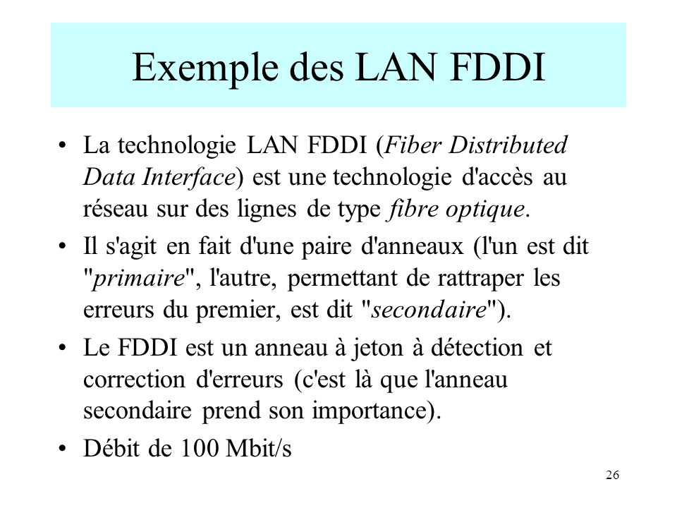 26 Exemple des LAN FDDI La technologie LAN FDDI (Fiber Distributed Data Interface) est une technologie d accès au réseau sur des lignes de type fibre optique.