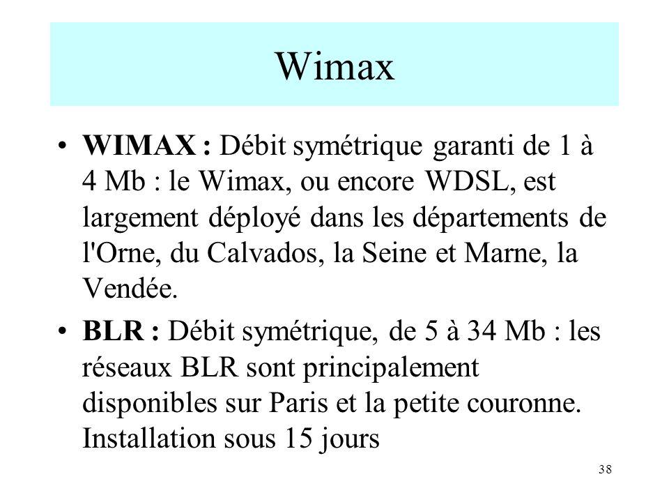 Wimax WIMAX : Débit symétrique garanti de 1 à 4 Mb : le Wimax, ou encore WDSL, est largement déployé dans les départements de l'Orne, du Calvados, la